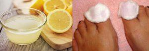 Протирание ногтей ваткой с лимонным соком