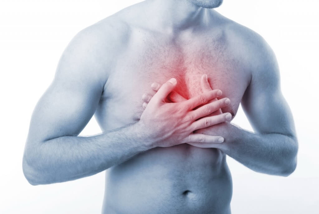 Боль посередине грудной клетки выше солнечного сплетения